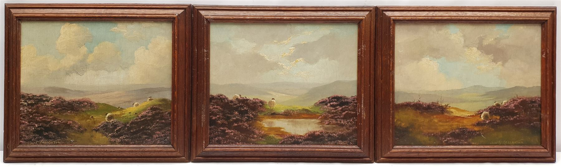 Lewis Creighton (British 1918-1996): Sheep on Heather Moorland