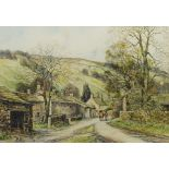 John Freeman (British 1942-): Leading a Horse through 'Kettlewell'