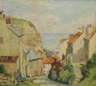 Ken Johnson (British 20th century): 'September at Staithes' - Church Street