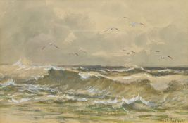 Robert Anderson (Scottish 1842-1885): Seagulls out at Sea