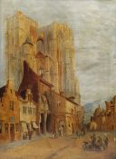 J Wood (19th/20th century): Street Scene before a Cathedral 'Belgium'