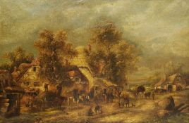 Continental School (19th century): Busy Village Scene with Children and Horses