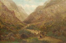 Albert Dunnington (British 1860-1928): Herding Sheep over a Stone Bridge in the Grampians