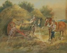Harden Sidney Melville (British 1824-1894): A Chat Beside the Haycart