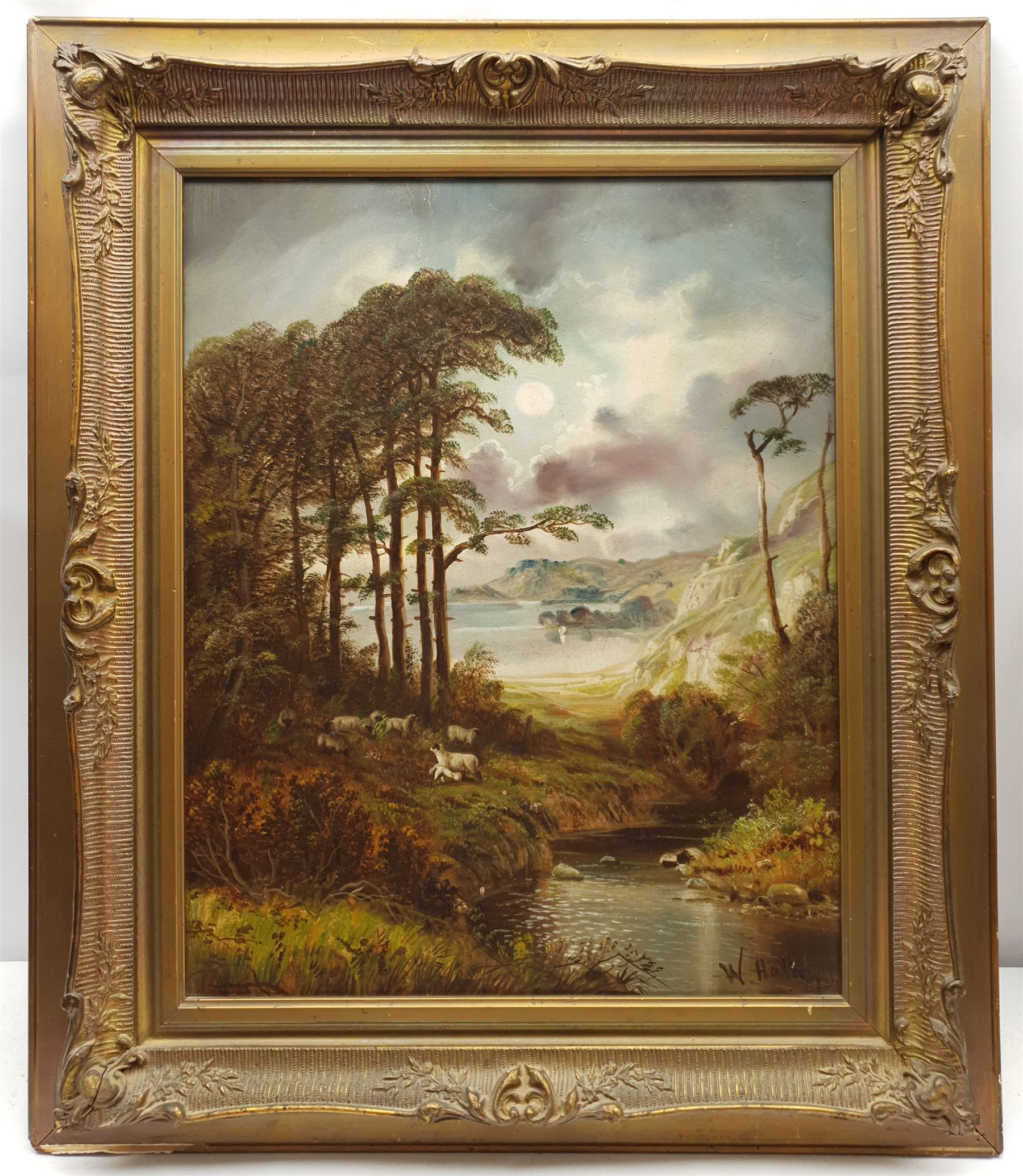 W Halley? (British late 19th century): Rugged Landscape with Sheep by a River - Image 2 of 2