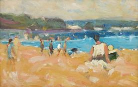 Impressionist School (20th century): Figures on the Beach