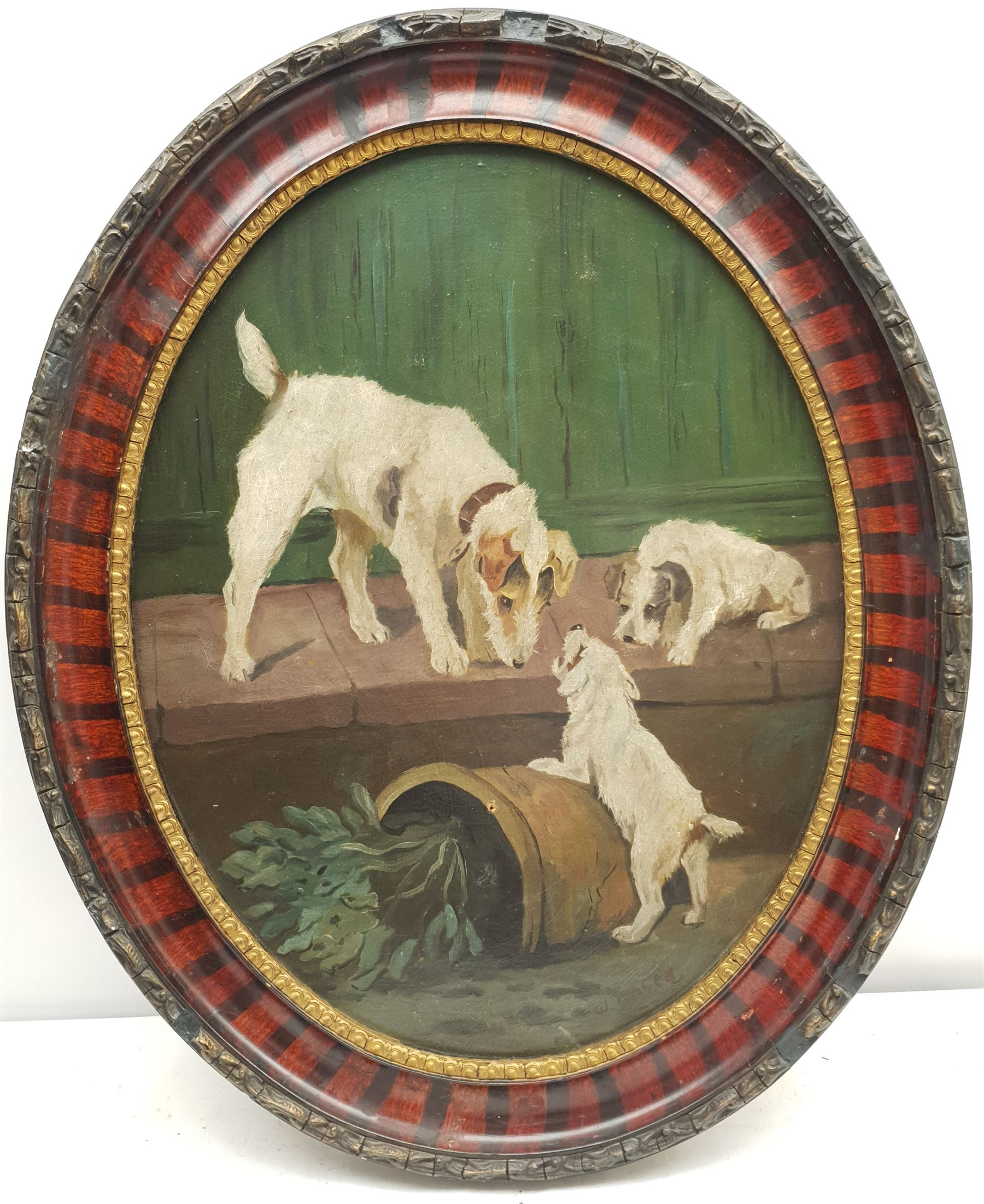 W Costa (Early 20th century): Terriers Playing with a Plant Pot