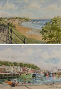 Les Pearson (British 1923-2010): 'The Harbour Scarborough' and 'Scarborough' from the Esplanade