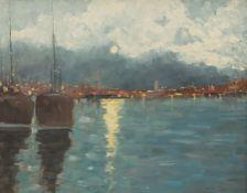 Impressionist School (20th century): Moonlit Harbour