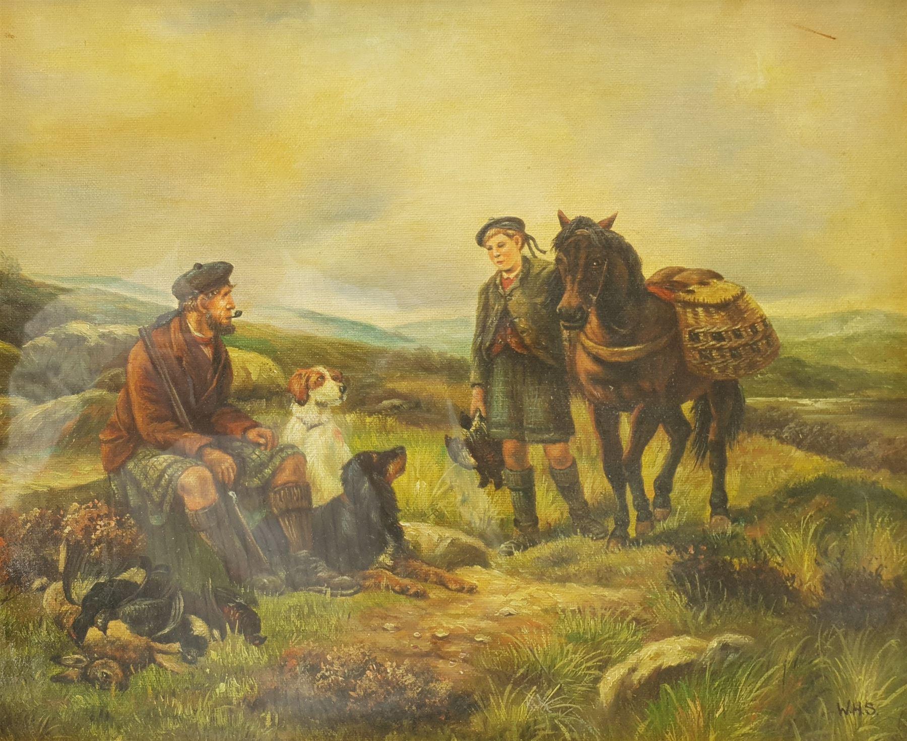 Attrib. William Hamilton Snape (British 1862-1904): Scottish Hunters Taking a Rest