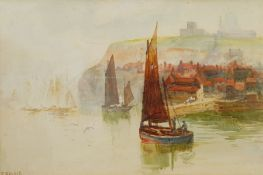 Frank Rousse (British fl.1897-1917): Hartlepool Boat leaving Whitby Harbour