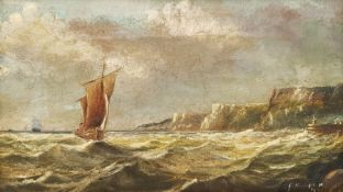 F Hopper (British 19th century): Sailing off the Coast