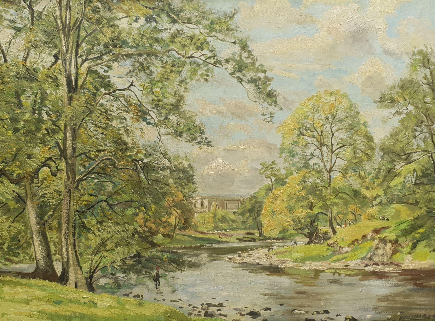 Thomas Leslie Kerkham (British 1918-1986): Bolton Abbey with Fly Fisherman on the Wharfe