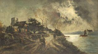 A Morley (British early 20th century): Riverside Church under Moonlight
