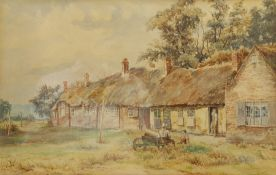 Frank Belshaw (British 1855-1884): Taking a Rest outside Thatched Cottages