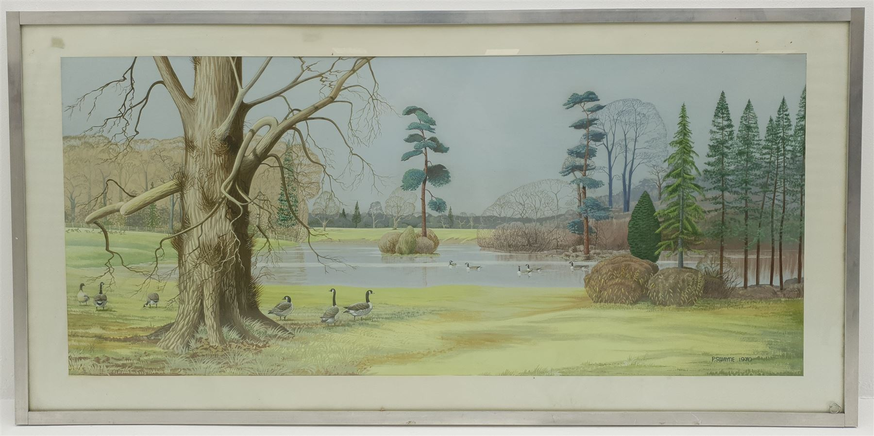 P Swayne (British 20th century): Geese in a River Landscape - Image 2 of 5