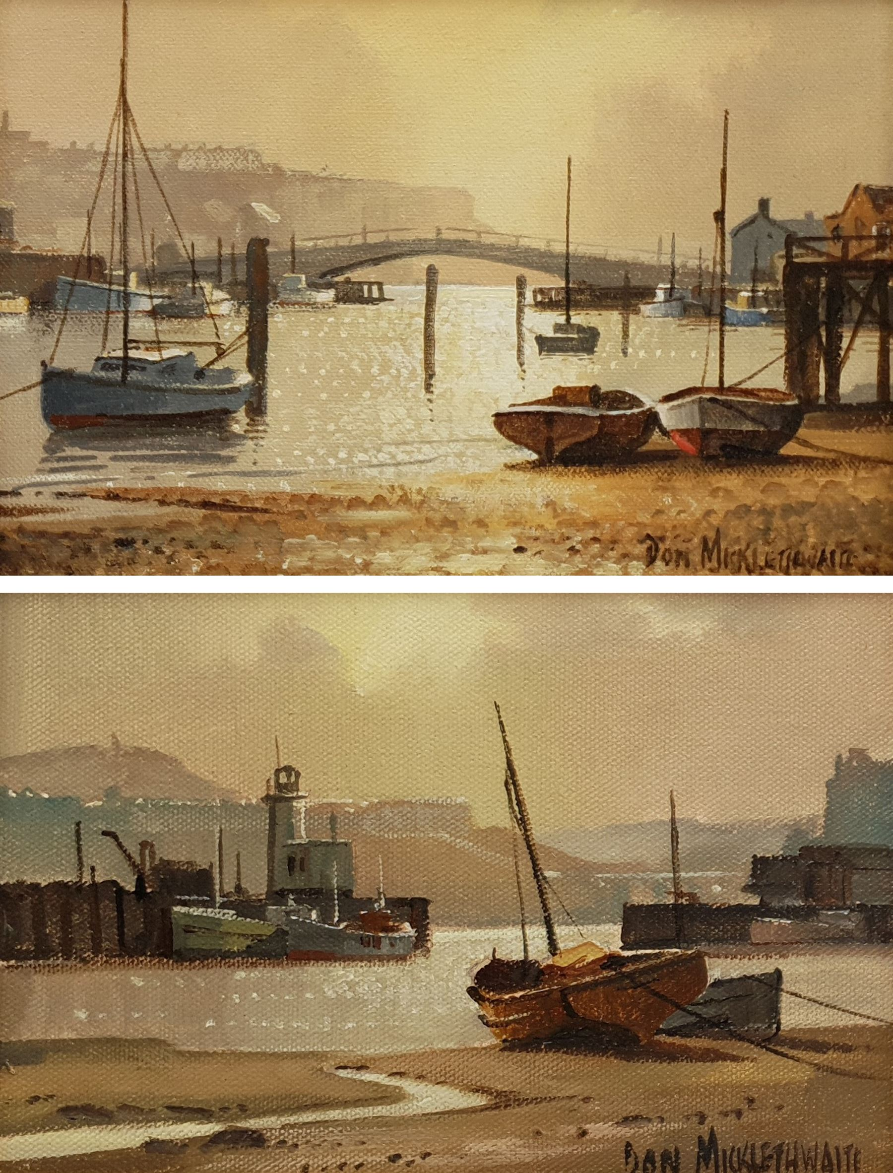 Don Micklethwaite (British 1936-): Scarborough and Whitby Harbours