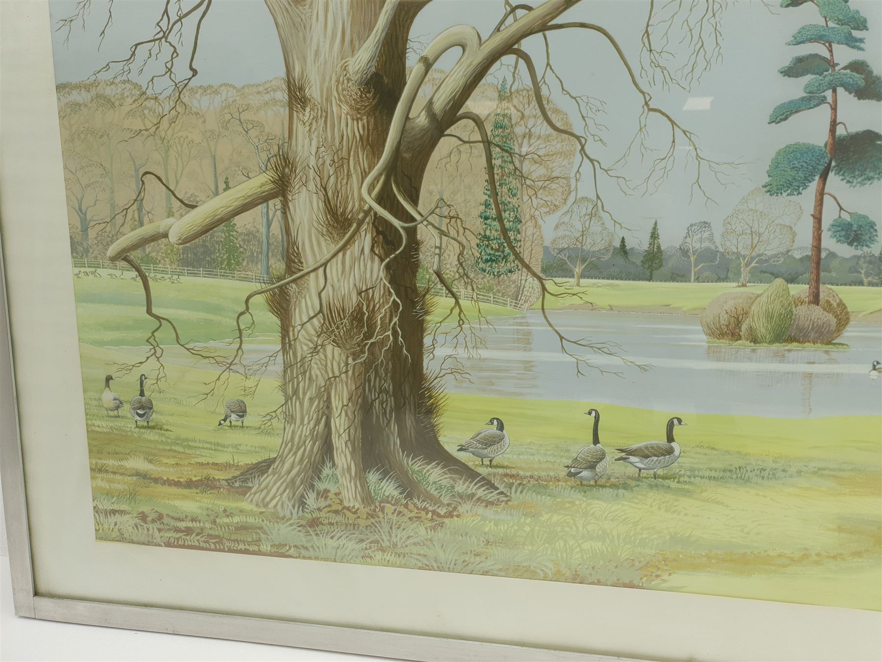 P Swayne (British 20th century): Geese in a River Landscape - Image 5 of 5