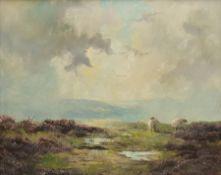 Lewis Creighton (British 1918-1996): Moorland Sheep Grazing