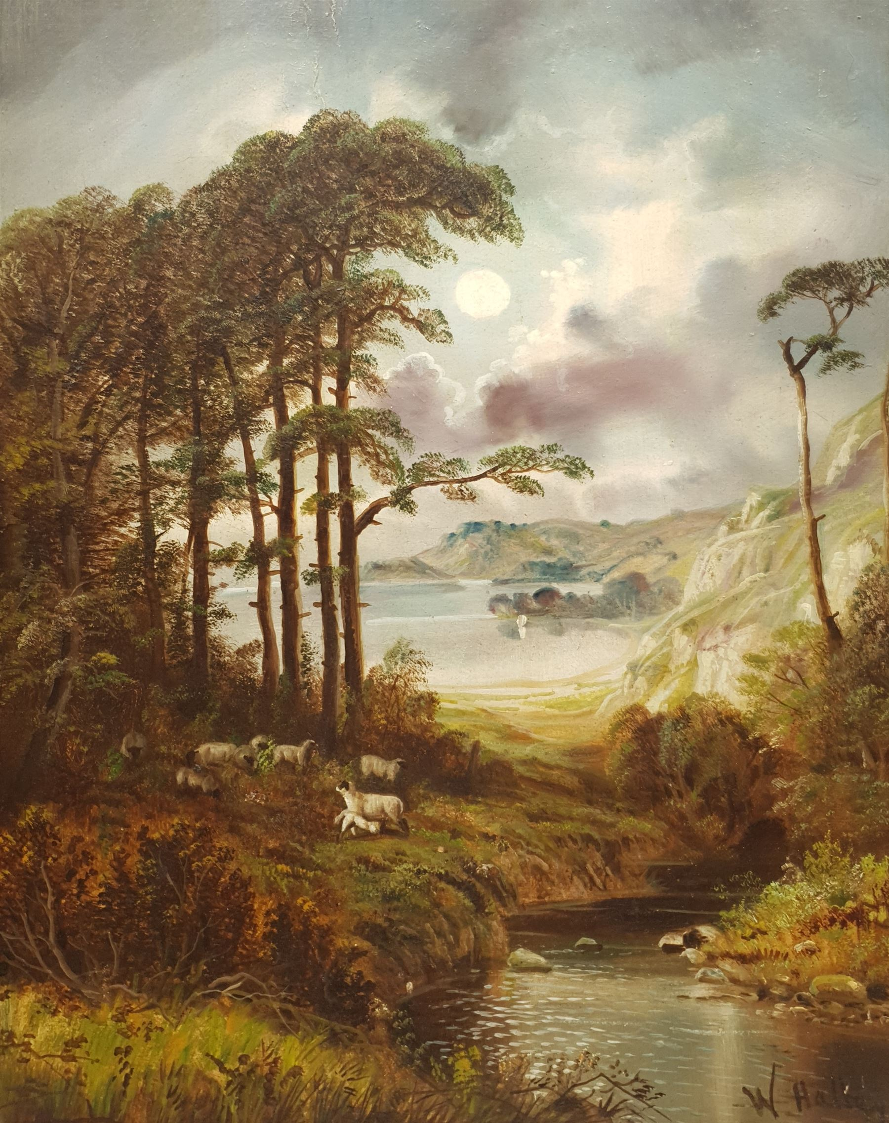 W Halley? (British late 19th century): Rugged Landscape with Sheep by a River