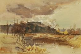 Louis Burleigh Bruhl (British 1861-1942): 'Dinedor on the Wye'