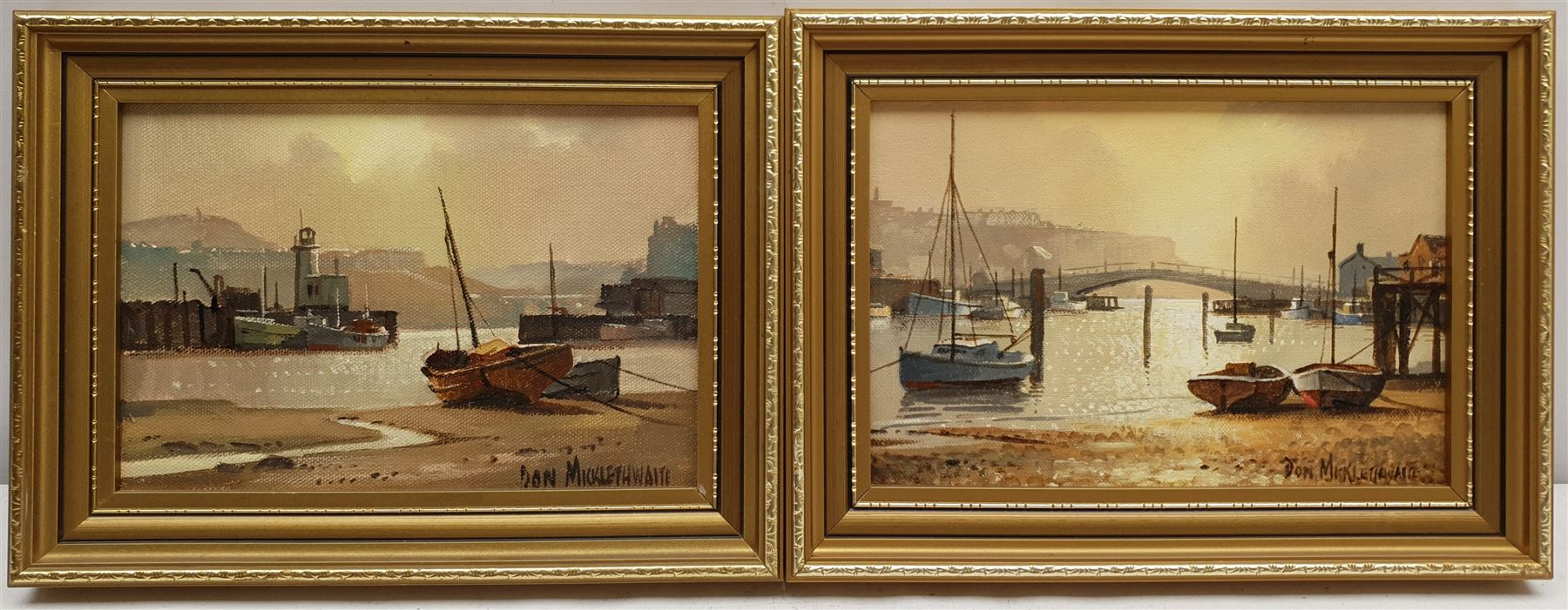 Don Micklethwaite (British 1936-): Scarborough and Whitby Harbours - Image 2 of 2