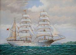 M Matthews (20th century): Barque off the Coast