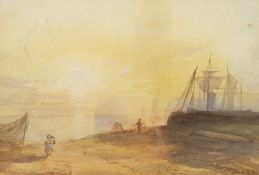 Dora HM Jarvis (19th century): Fisherfolk on the Shore at Sunset