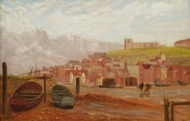 English School (19th/20th century): Low Tide Whitby Harbour