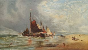 English School (19th century): Unloading with Horses on the Shore