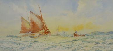 Hector McKinley (British early 20th century): Hauling Nets near the Coast