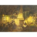 English School (19th century): Spinning Yarn in a Cottage Interior