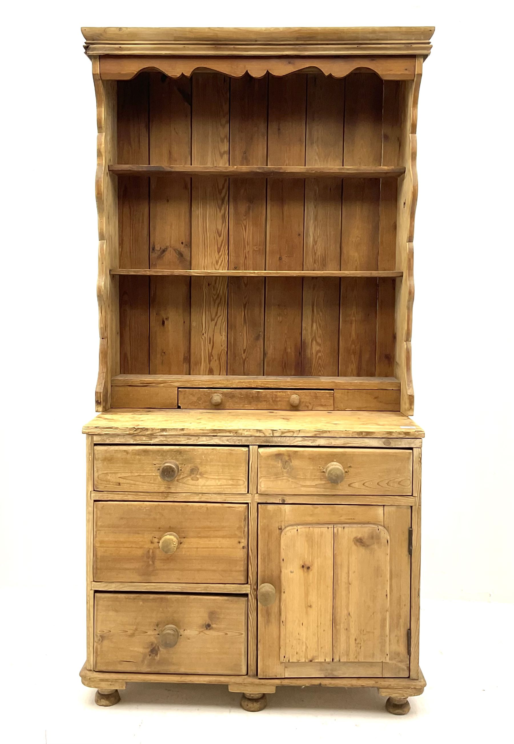 19th century and later pine chest with plate rack
