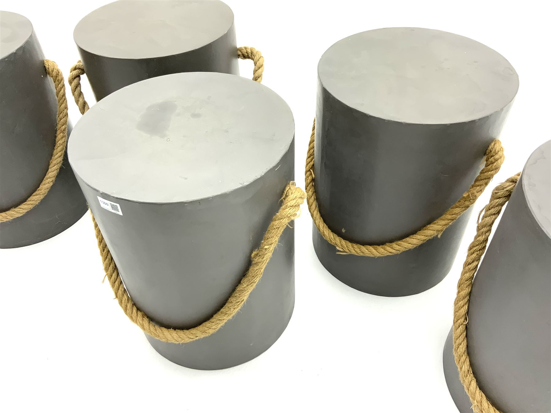 Five painted wood circular stools with rope detail - Image 2 of 3