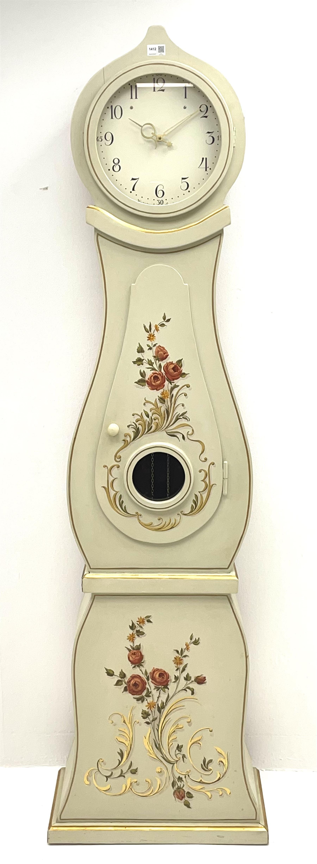 Swedish cream painted longcase clock