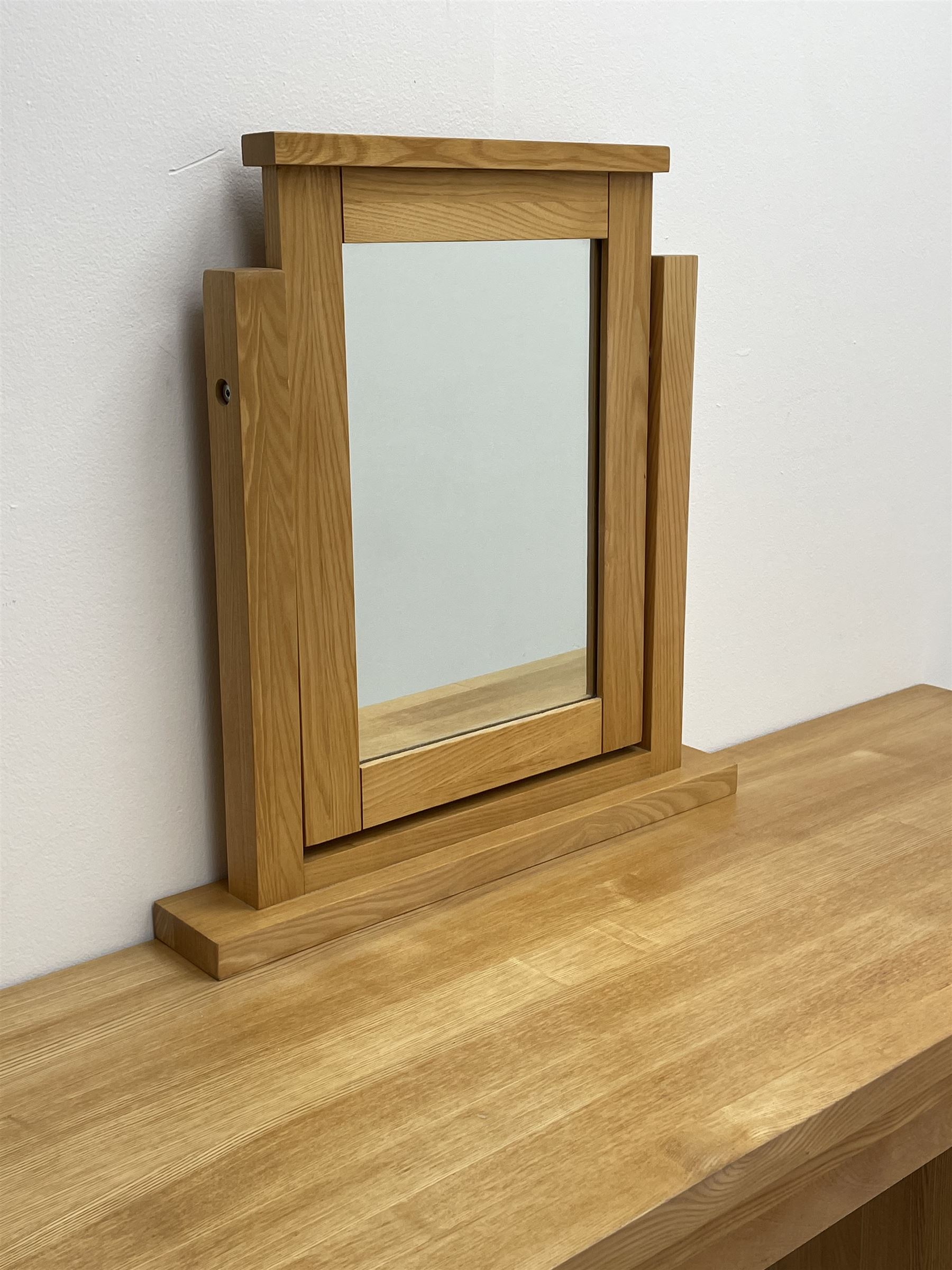 Light oak dressing table with mirror - Image 2 of 3