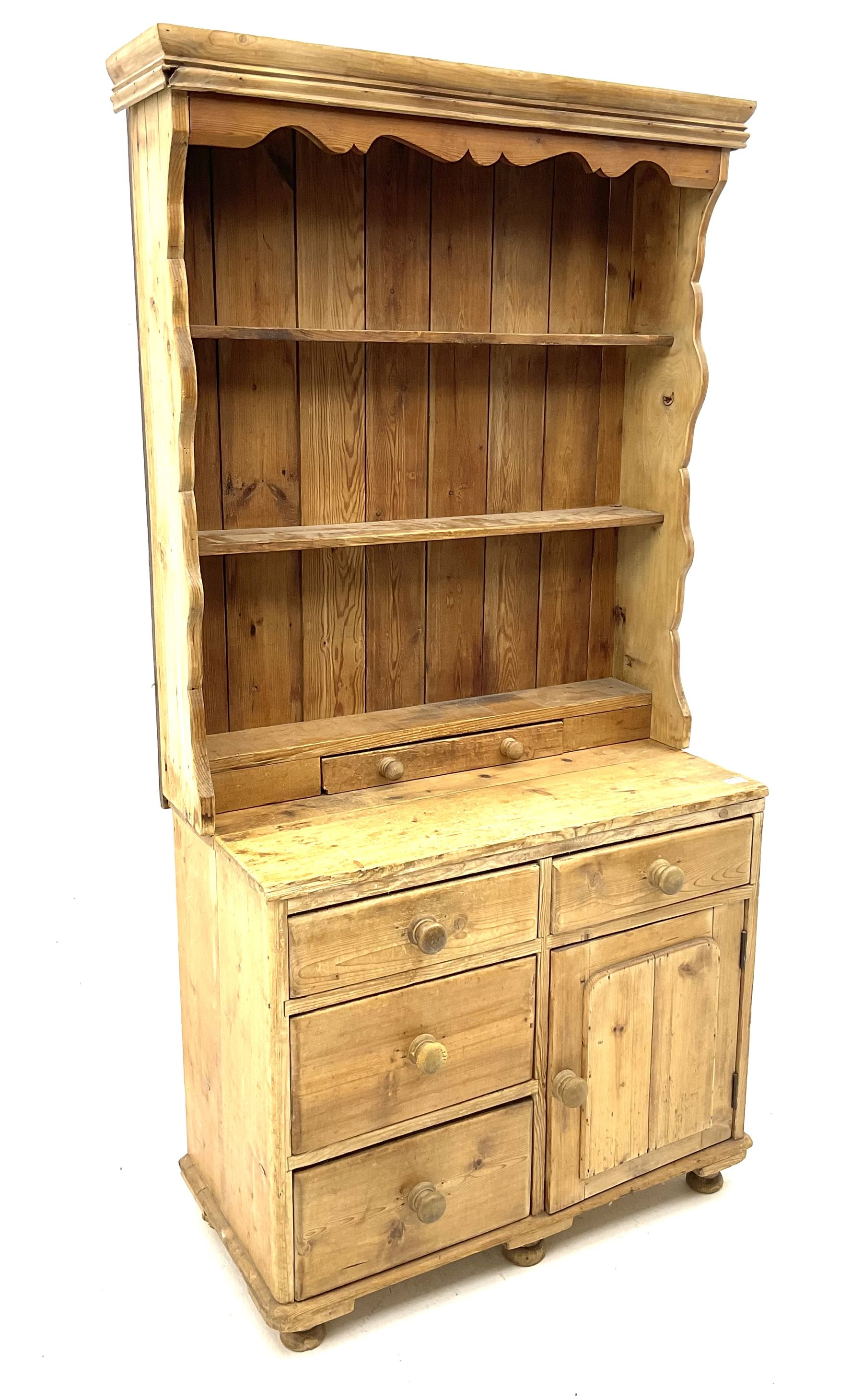 19th century and later pine chest with plate rack - Image 2 of 3