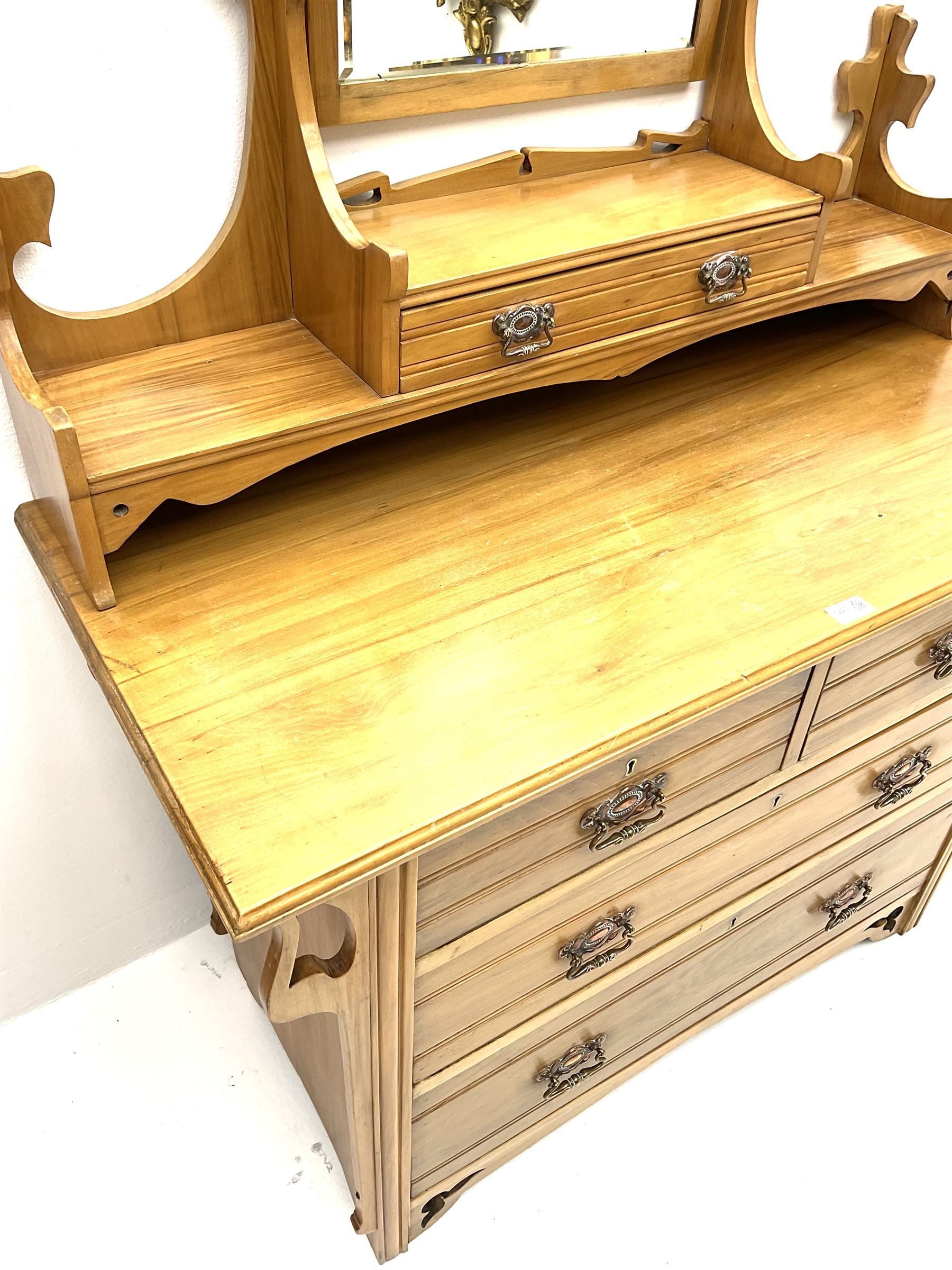 Late Victorian satin walnut dressing chest - Image 2 of 2