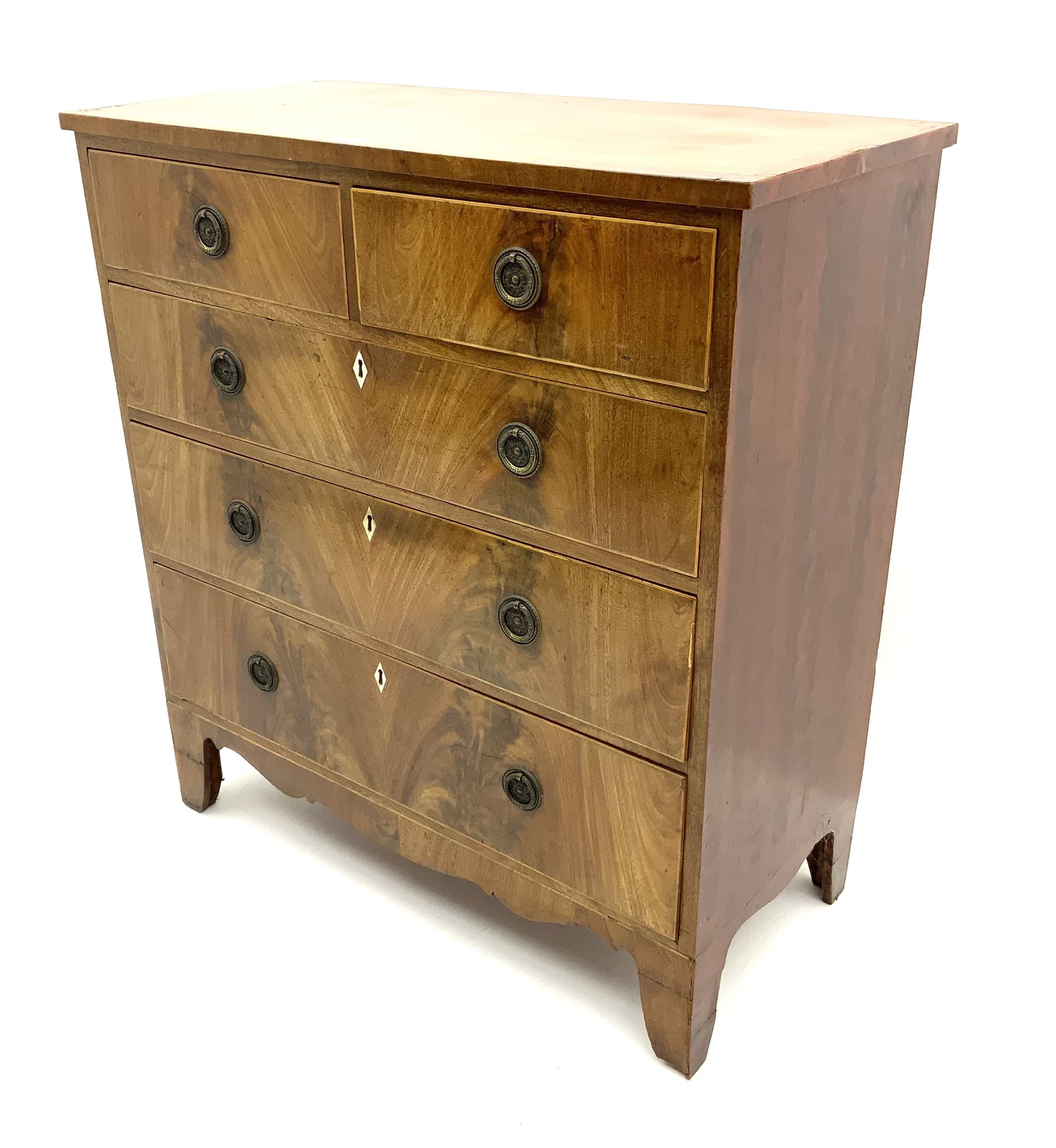 George III inlaid mahogany chest - Image 2 of 3