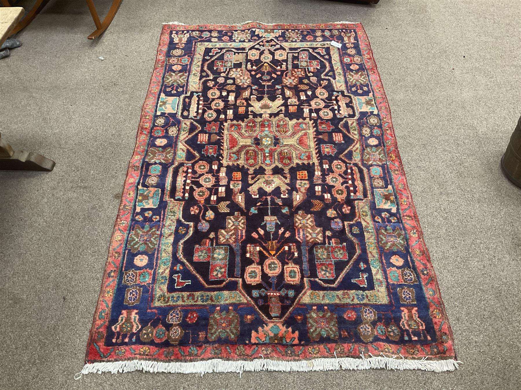 Persian Hamadan blue ground rug - Image 2 of 4