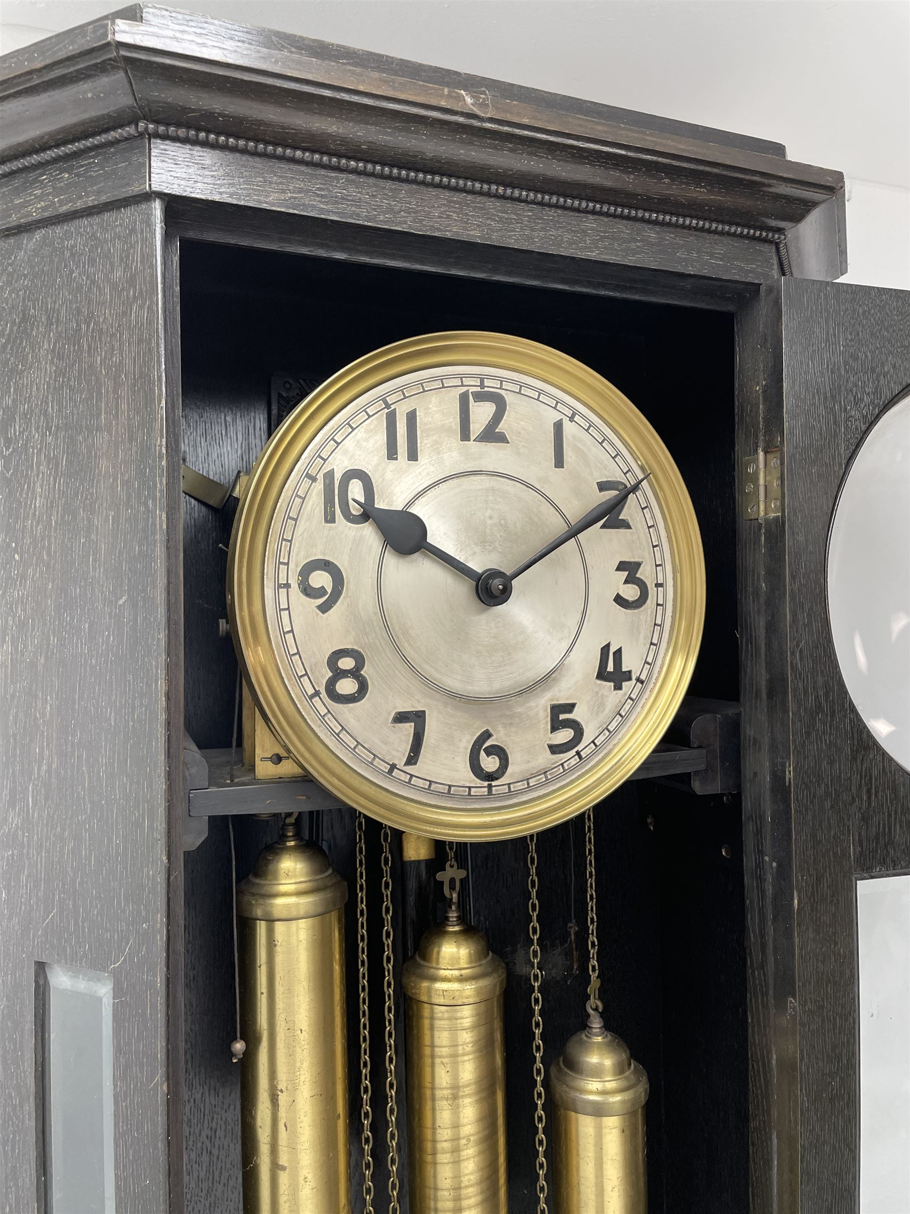 Early 20th century oak longcase clock - Image 4 of 9