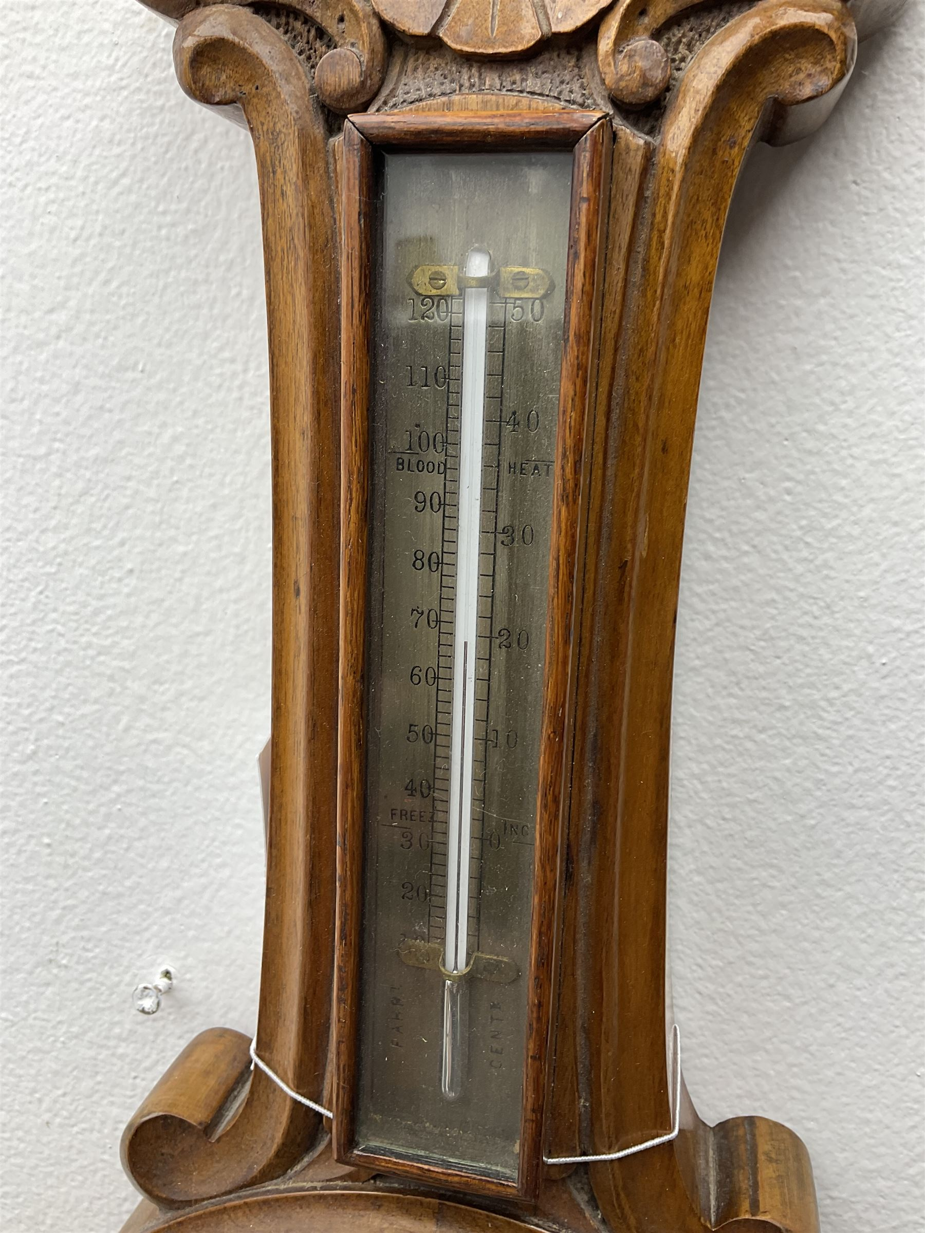 Early 20th century walnut cased aneroid barometer - Image 3 of 3
