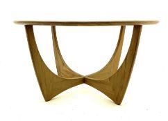 G-Plan teak circular glass top coffee table