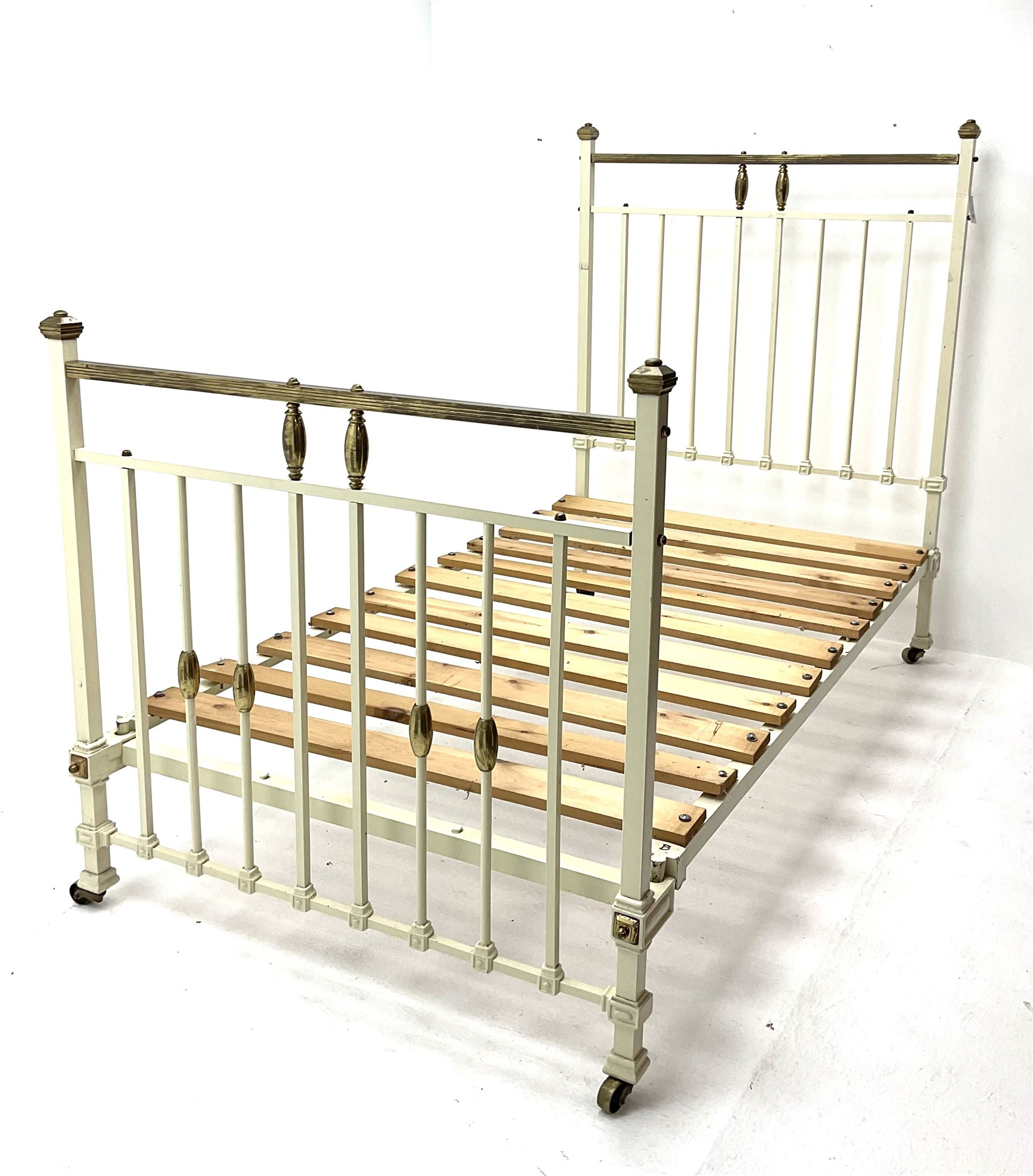 Victorian brass and cream painted bedstead
