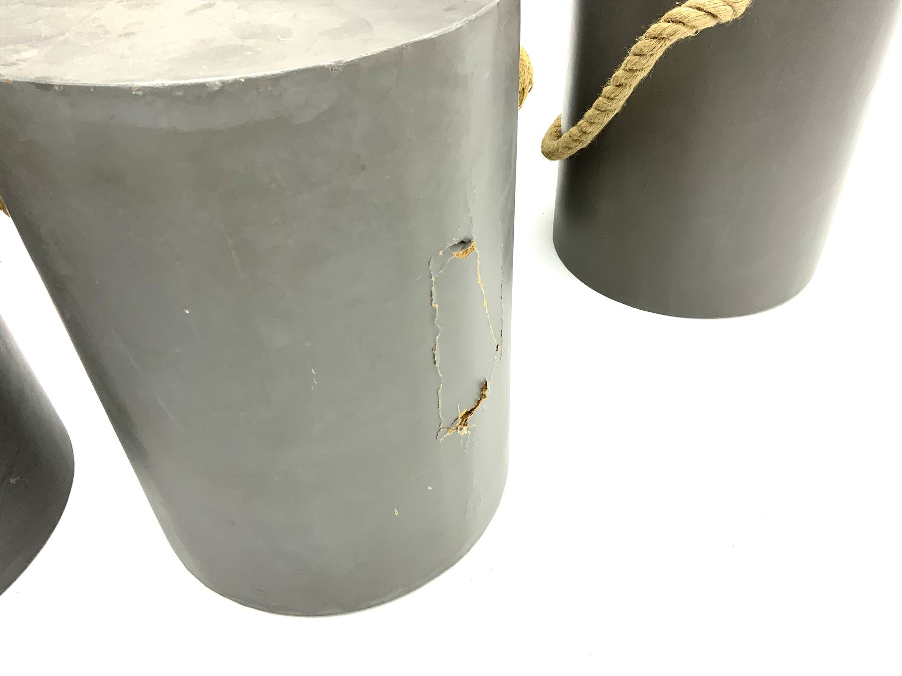 Five painted wood circular stools with rope detail - Image 3 of 3