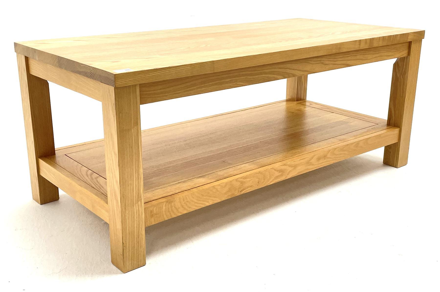 Light oak rectangular coffee table with undertier