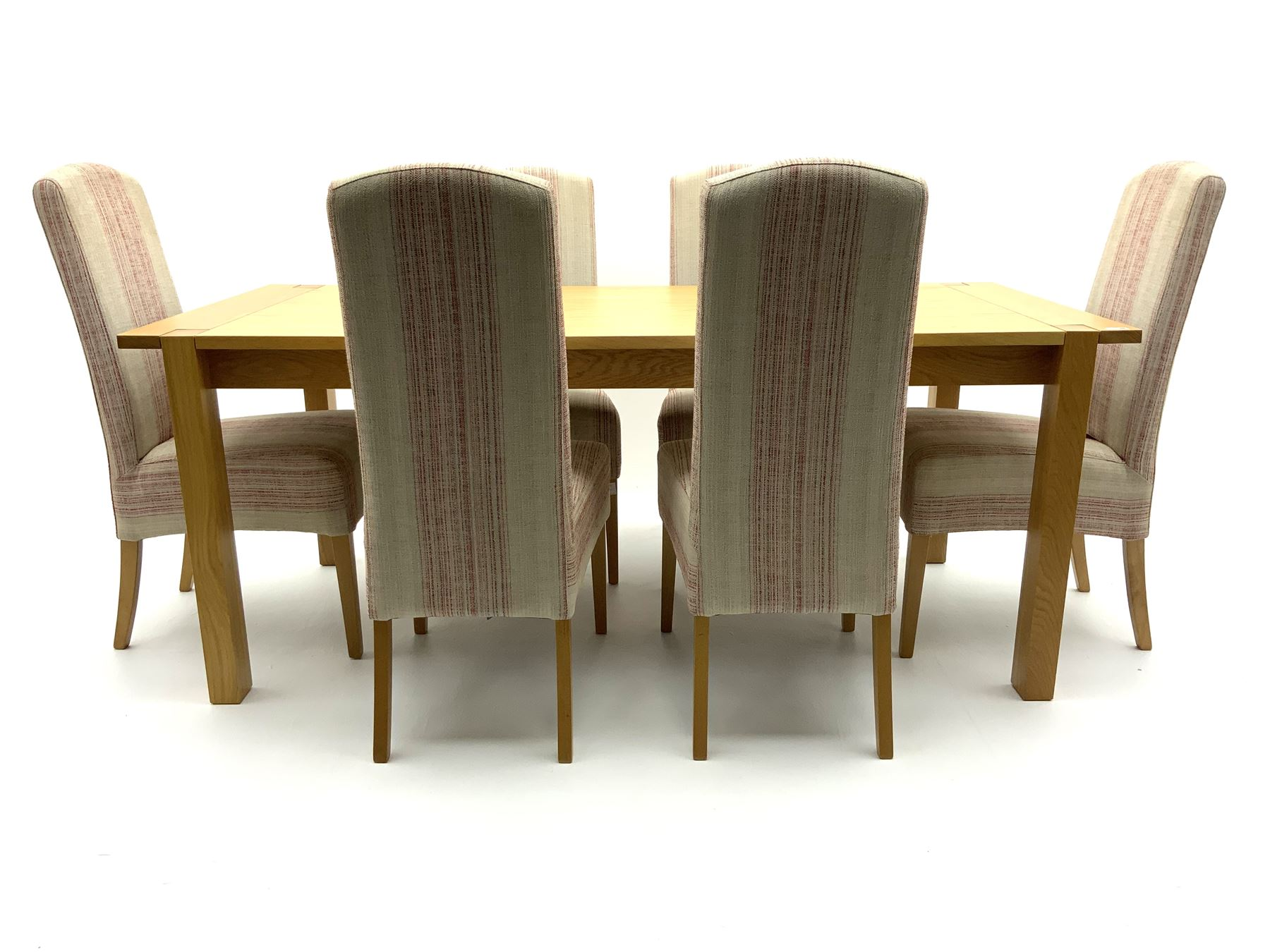 Marks & Spencer Home Sonama light oak extending dining table with leaf and six high back chairs with - Image 3 of 3