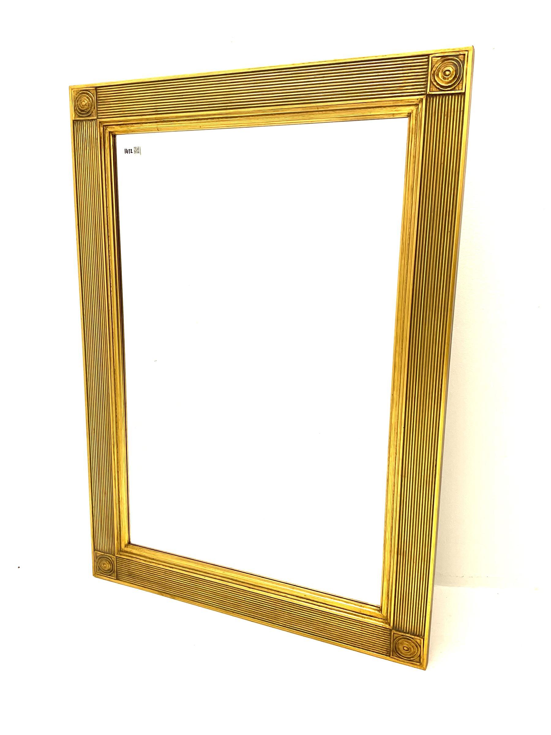Rectangular ribbed gilt framed bevelled edge wall mirror and a rectangular wall mirror in swag frame - Image 3 of 3