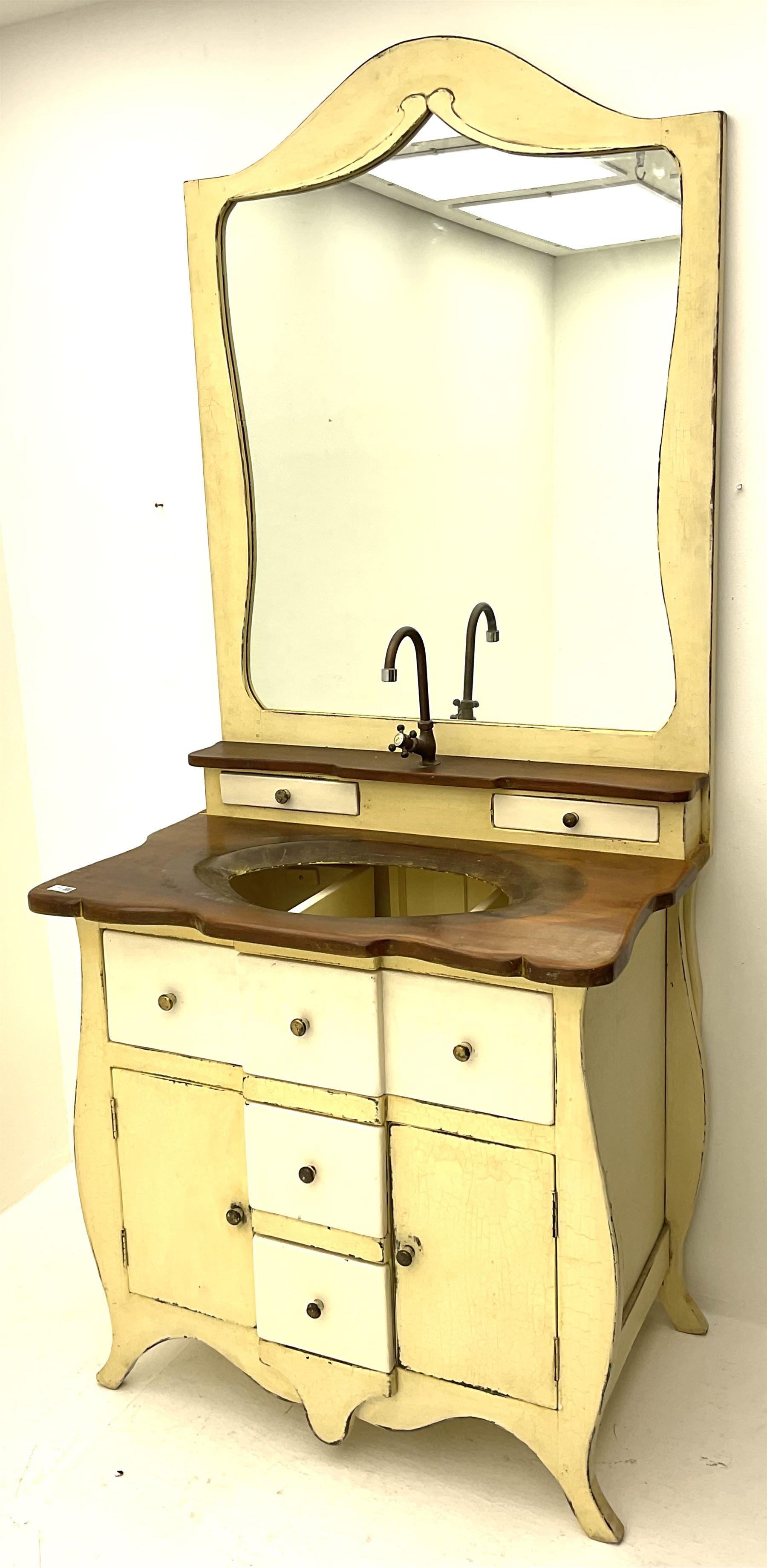 Distressed cream painted vanity unit