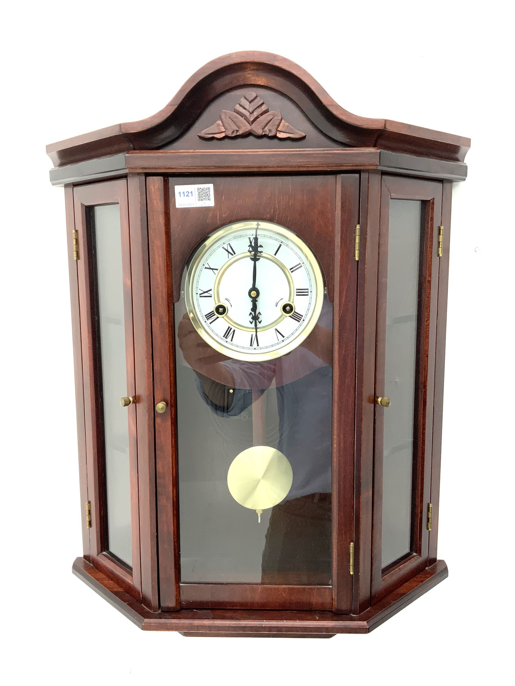 Contemporary stained beech wall clock